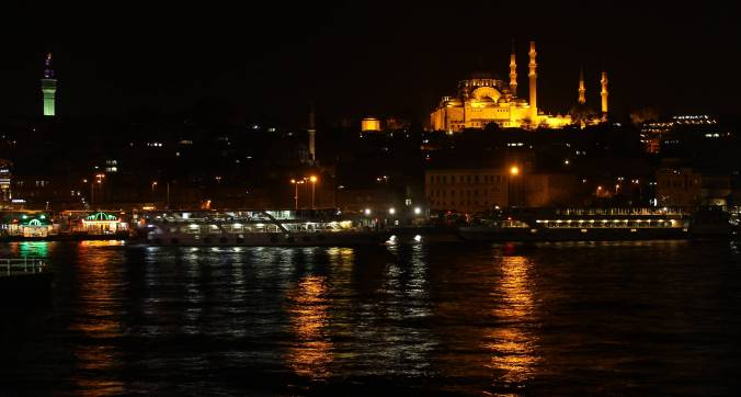 Mosques lit up.