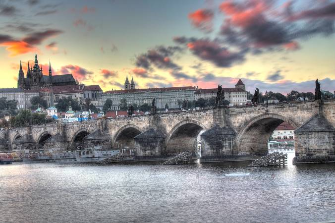Charles Bridge with the castle.